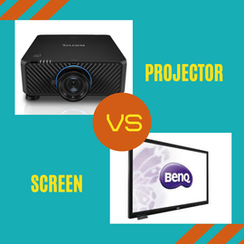 A BenQ projector and a BenQ TV Screen